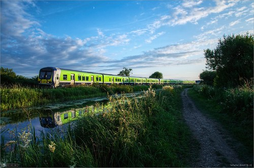 ireland summer moon train evening canal rail pathway irishrail kildare dmu leixlip photomatix tonemapped topazadjust topazdenoise classie29000