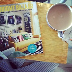 My day is off to a great start! New book smell and hot tea! @brightbazaar did a beautiful job!