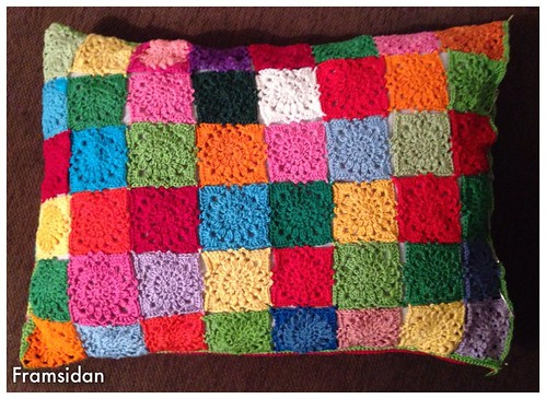 Front of scrap yarn pillow case