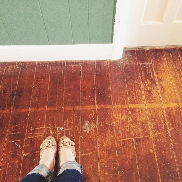 Waiting for the smallest at guitar lessons. Couldn't help admire the patina of the weathered floorboards and joining in #myweekoflookingdown #vscocam