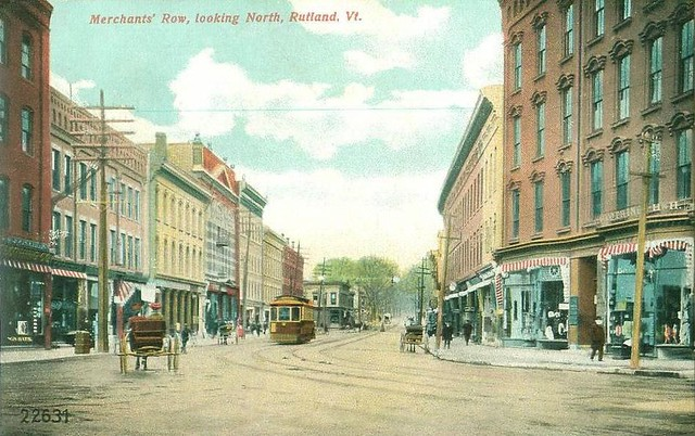 Merchants' Row, Rutland, Vermont, 1907 (public domain)