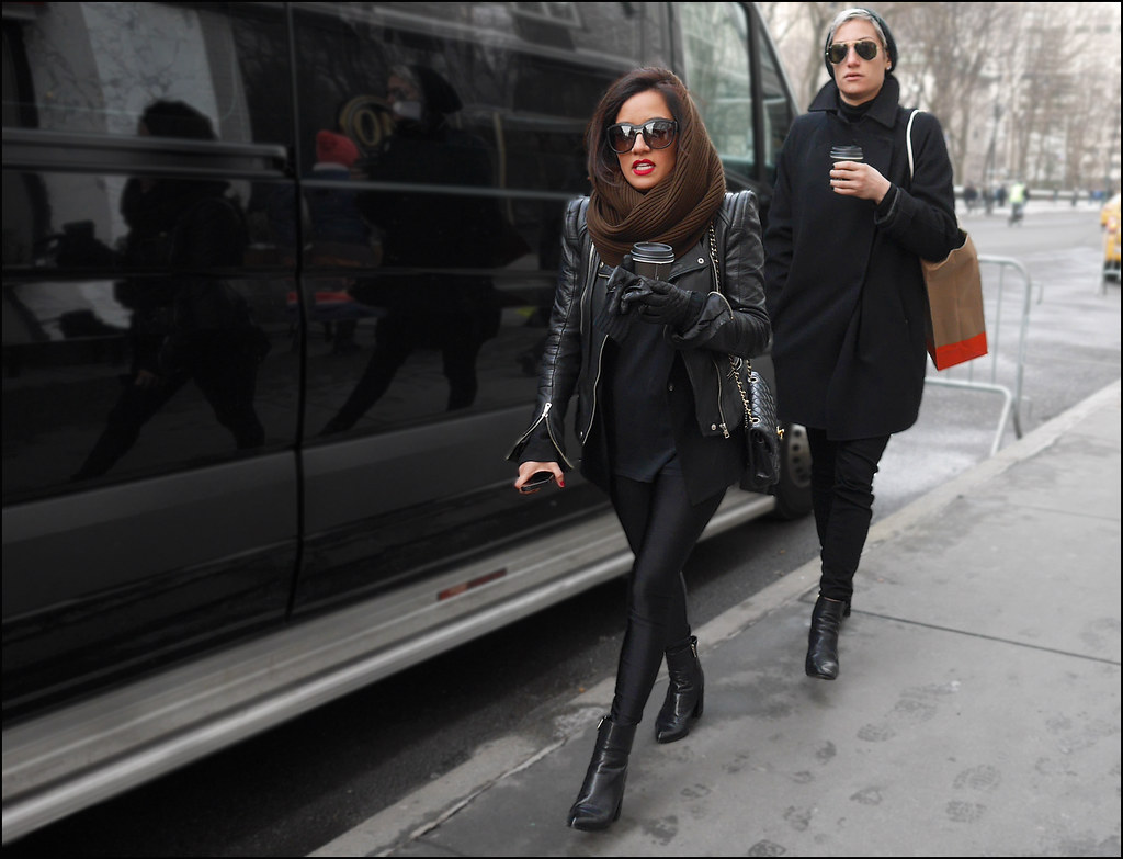SS2-15  6w2 all black leather jacket leggings ankle boots chanel bag over coat black nail polish small