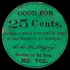 Maryland. 3rd Regiment Maryland Volunteers. 25 Cents front