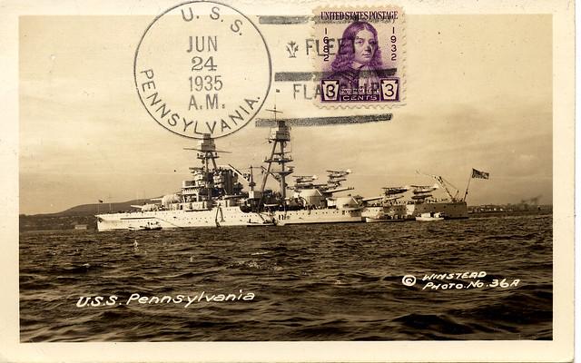 USCS - USN - 1935 06 24 - USS PENNSYLVANIA - Fleet Flagship - Winstead postcard