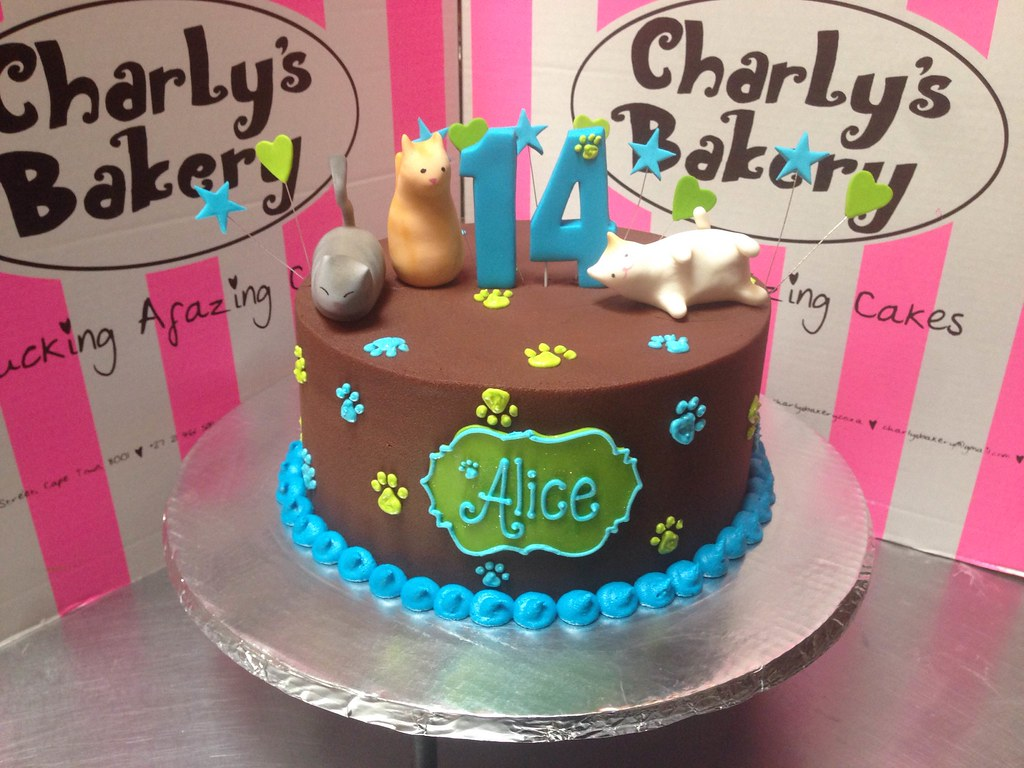 Single Tier Kitty Themed Birthday Cake With 3D Simple Cat Figurines And Piped Paw Prints