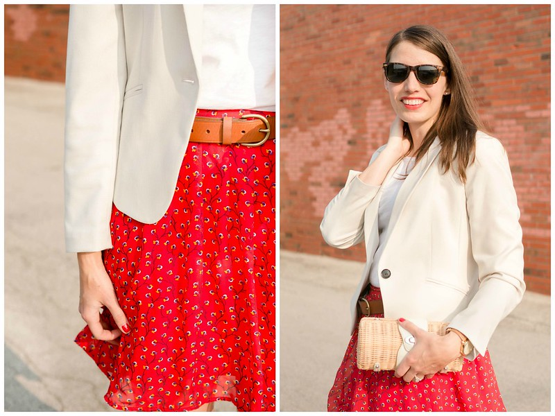 red floral skirt + white tee + cream blazer + wicker clutch | Style On Target