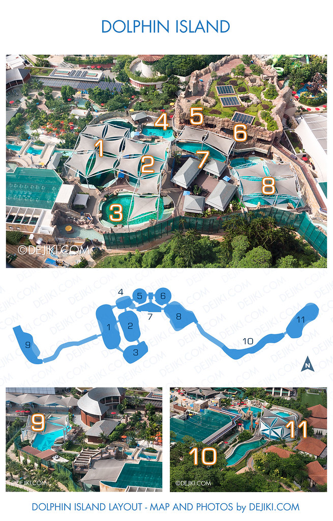 Marine Life Park - Dolphin Island - Lagoon Map and Layout with Photos of Dolphins in Pools