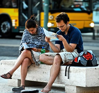 Tourists reading