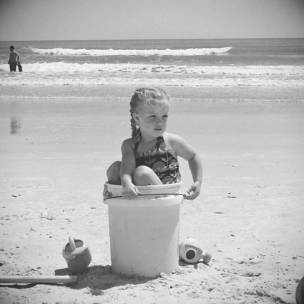 Still workin' the bucket. Probably the last year she'll fit.  #pictapgo_app #beach #beachgirl #nsb