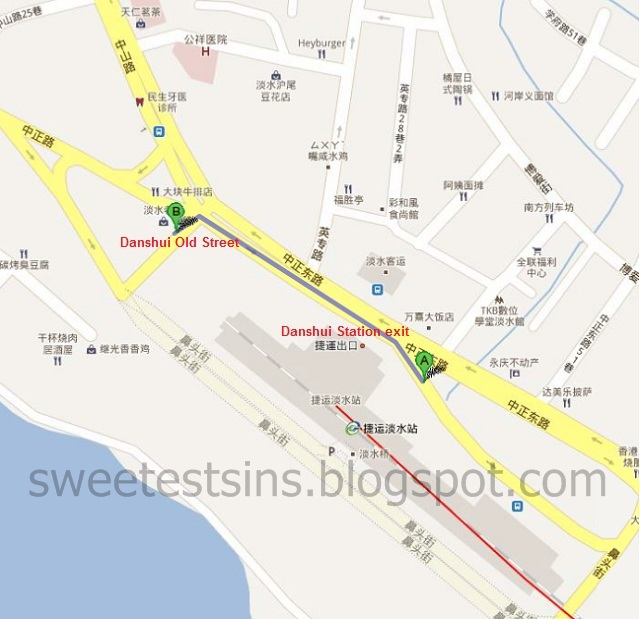 danshui station to danshui old street directions map chinese