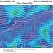"""GFS Karten: předpověď větru – podle """"praporků"""" může průměrná rychlost větru dosahovat i10m/s., foto: www.wetterzentrale.de"""