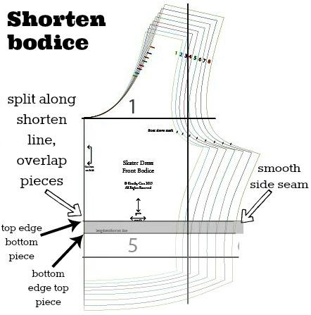 front bodice shorten
