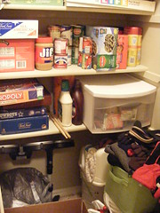 bottom shelves of utility closet