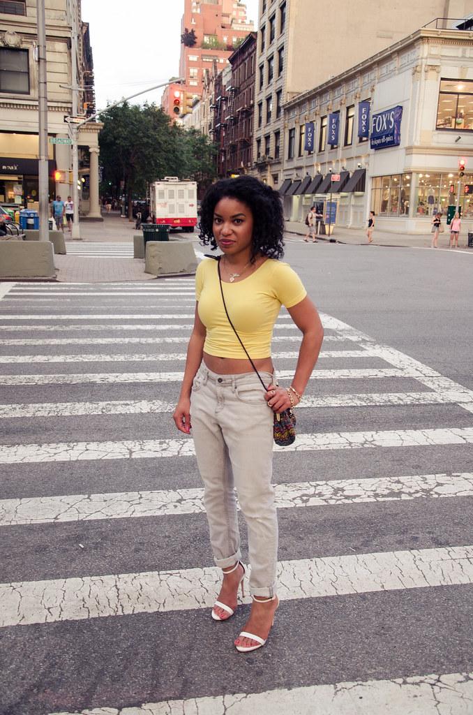 american apparel crop top, boyfriend jeans, white zara heels