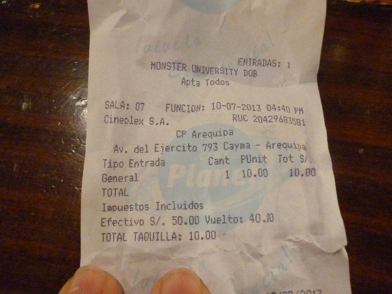 Movie ticket in Arequipa, Peru