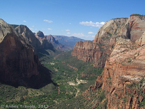 Looking down Zion Canyon from the top of Angel's Landing, Zion National Park, Utah