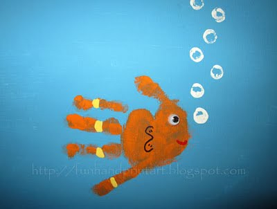 handprint fish on canvas (1)