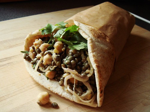 Lentil Chickpea Salad with Tahini in Pita