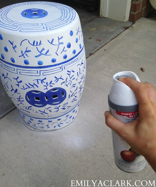 spray painting garden stool