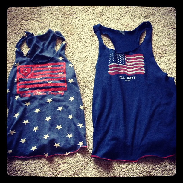 Another project. Copied a friends tank top using my serger and one of the many old navy flag shirts lying around.