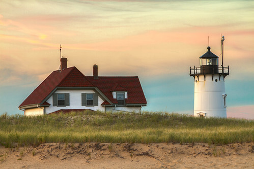 sunset summer lighthouse beach nature provincetown capecod seashore nationalseashore