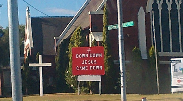 "Elsternwick church: ""Down down, Jesus came down"""