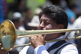 Trombone player at La Fiesta de la Virgen de la Merced