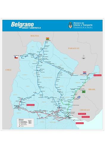 Mapa ramales activos Belgrano Cargas y Logística SA.
