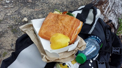 Post-Hike Picnic: Spinach Capsicum Croissant Sandwich & Pear
