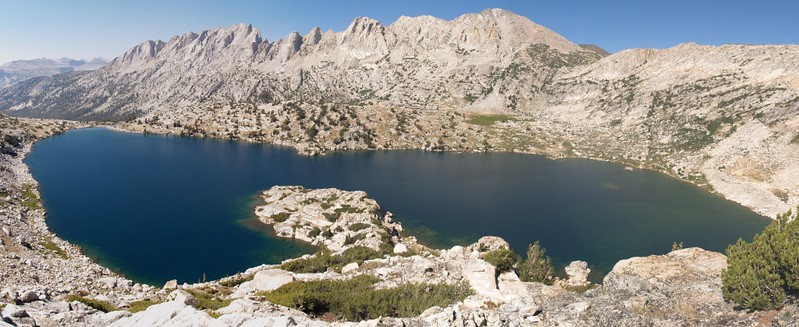 Panorama shot of Upper McCabe Lake and the Shepherd Crest from the slope below Don't Be A Smart Pass