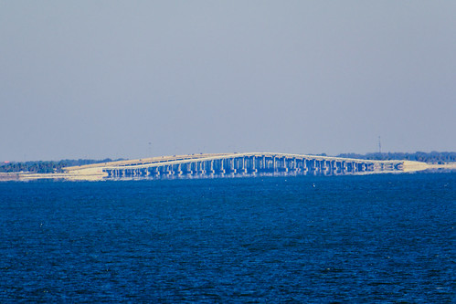 View from Bayside Bridge of Pedestrian trail alongside Courtney Campbell Causeway