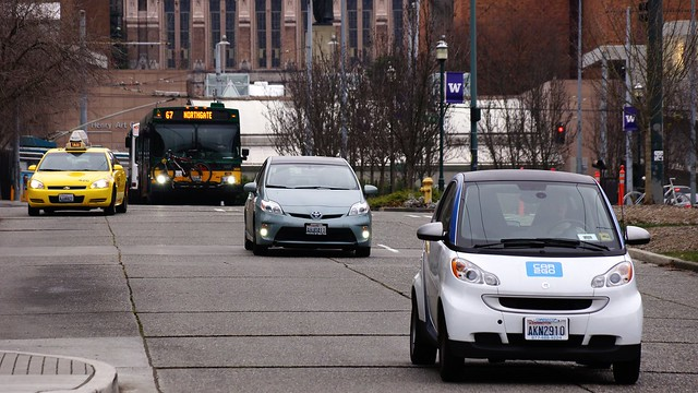 Car2Go and Metro Rt 67 on Campus Parkway