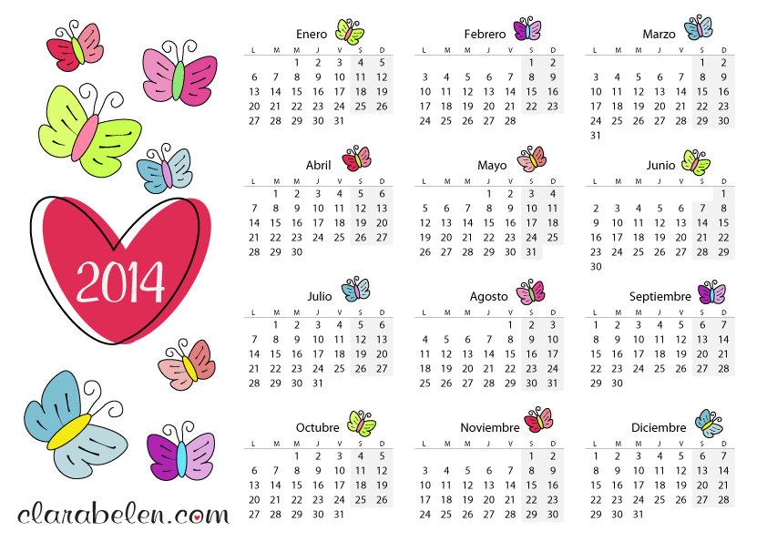 calendario 2014 de mariposas