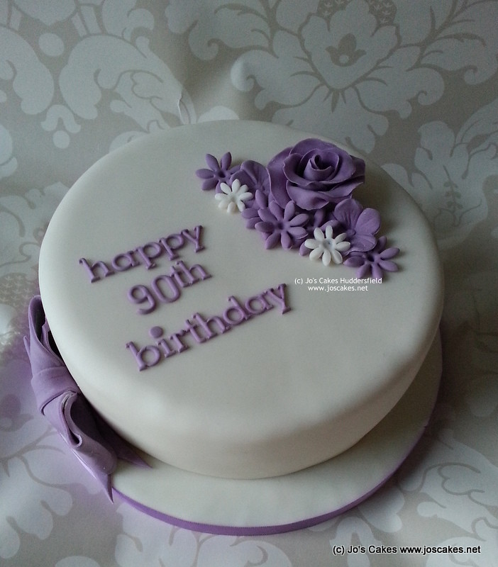 Purple Simple 90th Birthday Cake