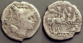 135/2 owl Quinarius. Roma, Dioscuri, 1g81, STR coll. ex Sandroc. Unique, this the discovery coin published in the Celator (2)