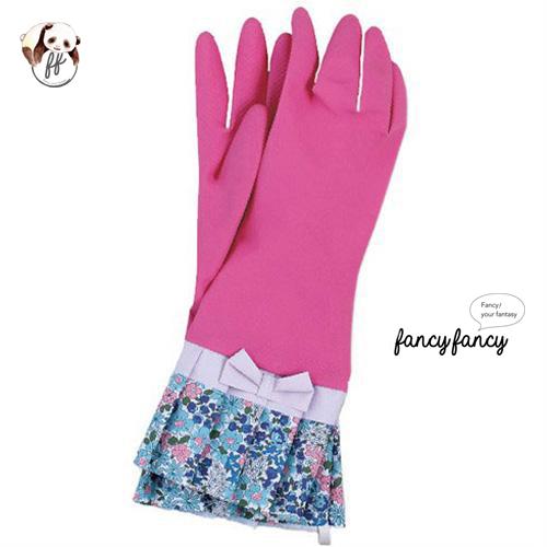 48.繽紛小花蝴蝶結橡膠手套-粉紅色
