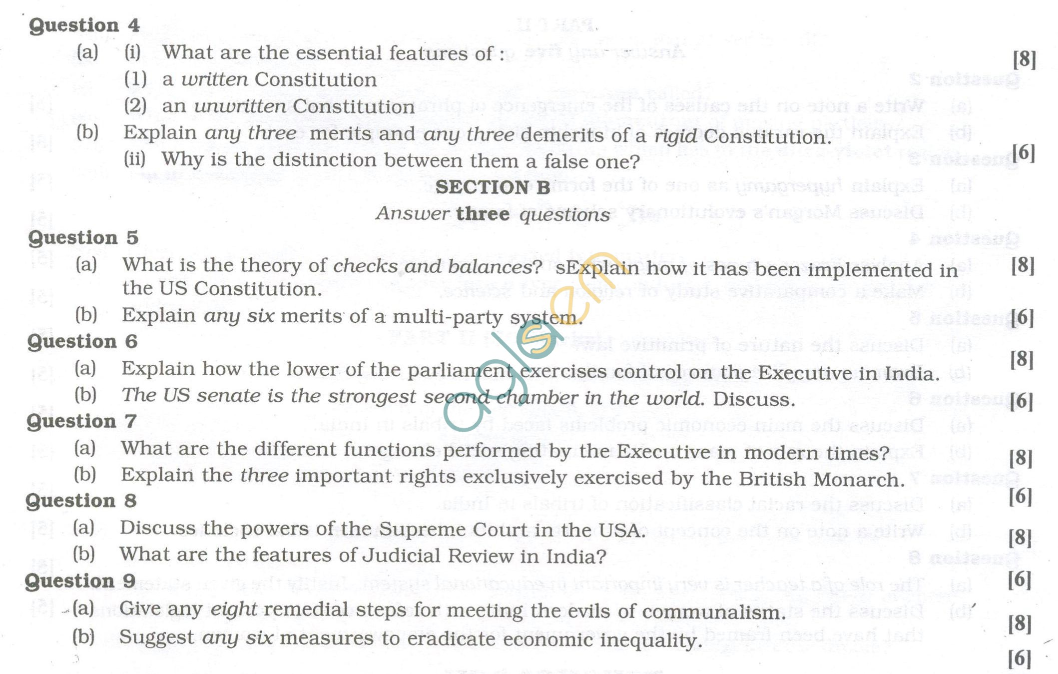 ISC Question Papers 2013 for Class 12 - Political Science