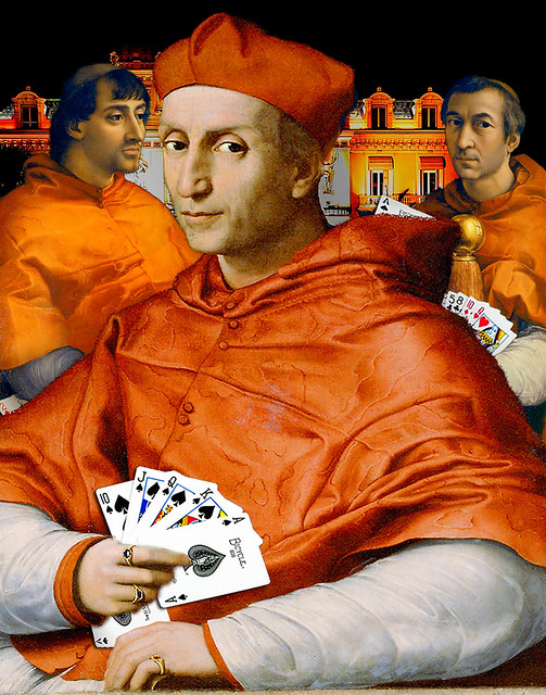 Hiding those duplicate cards can be tricky, Raphael Portrait of Cardinal Bibbiena (1516), Pope Leo X with Cardinals (Raphael - 1517-19) 7-1 x320 11x14