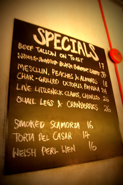 Specials board menu