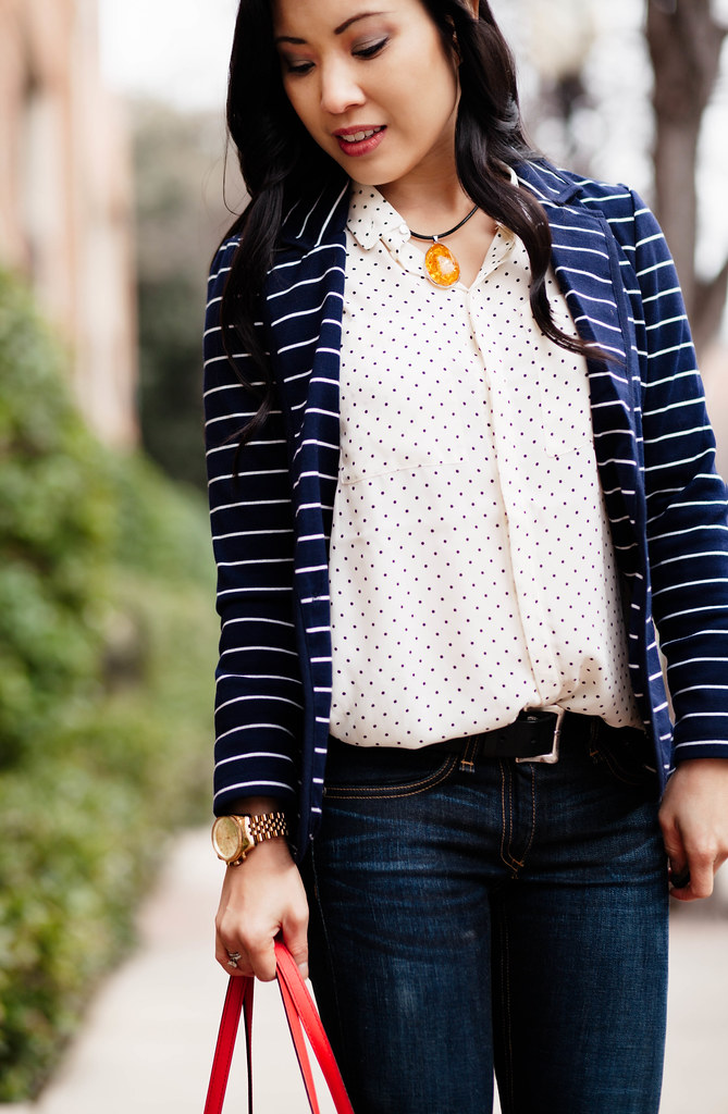 cute & little blog | navy stripes + polka dots | spring layering outfit
