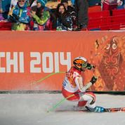 Jan Hudec crosses the super-G finish line in 3rd place earning a bronze medal at the 2014 Olympic winter games in Sochi, Russia