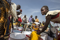 Water point set up by Oxfam at UN House, Juba, South Sudan