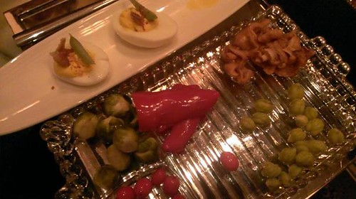 Pickle plate and deviled eggs