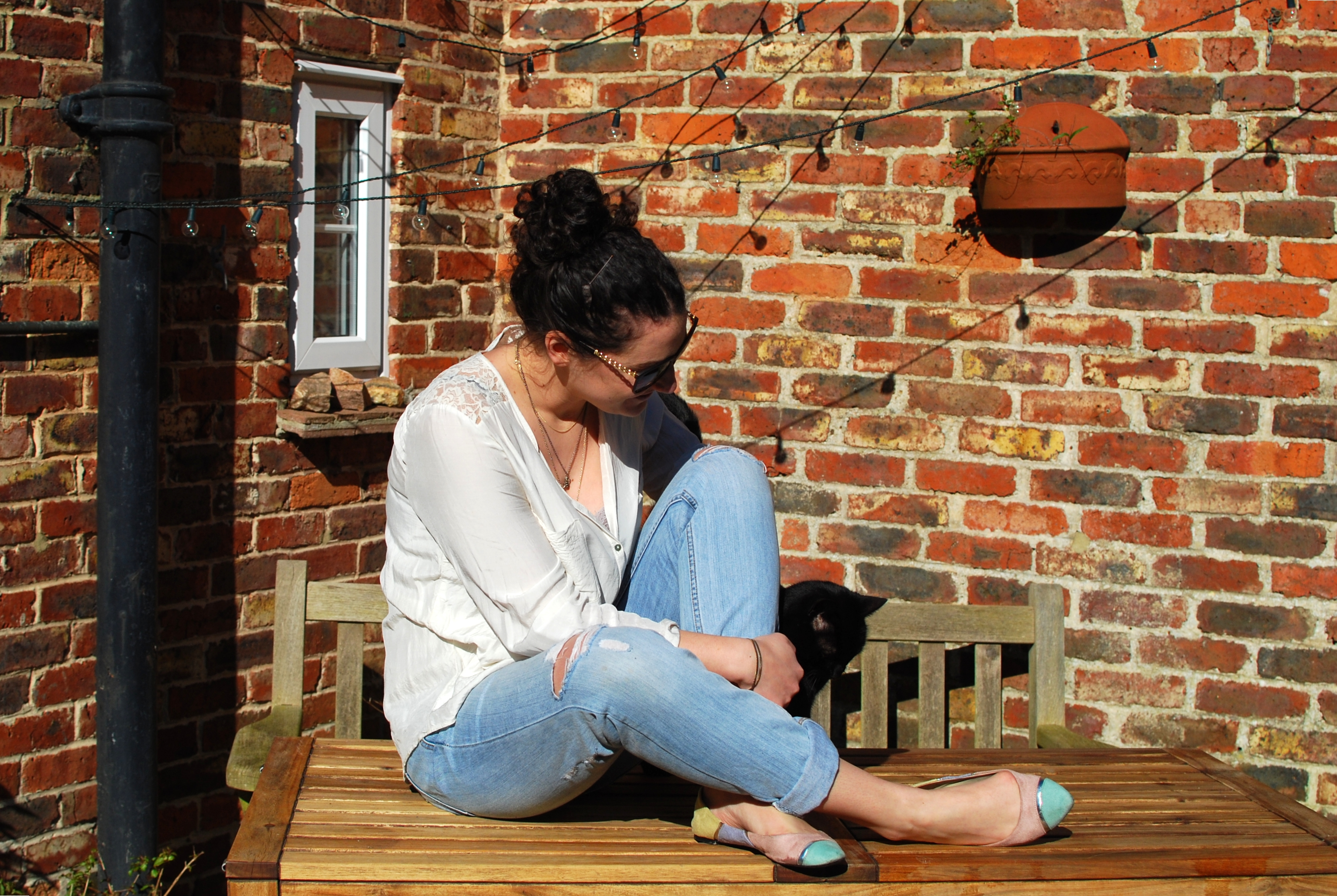 chambray and curls weekend casual style