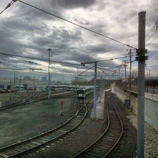 The MetroLink train depot on a cloudy Sunday.