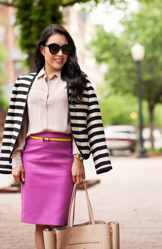 cute & little blog   petite fashion   everlane silk point collar shirt, radiant orchid pencil skirt, yellow bow belt, striped blazer   spring outfit