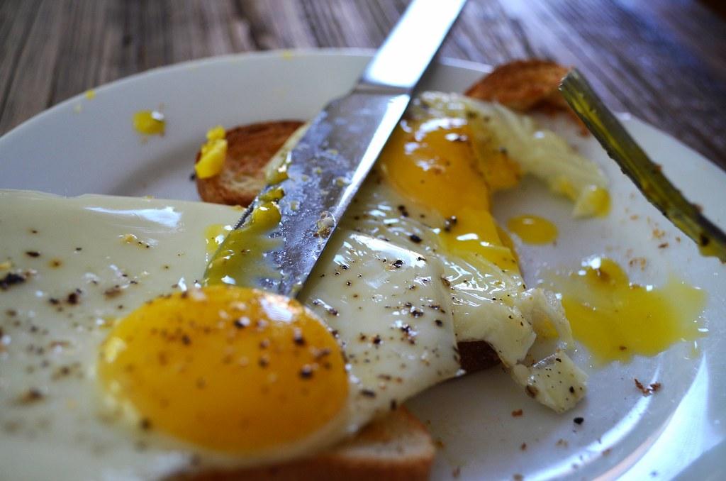 Slowed cooked eggs on toast