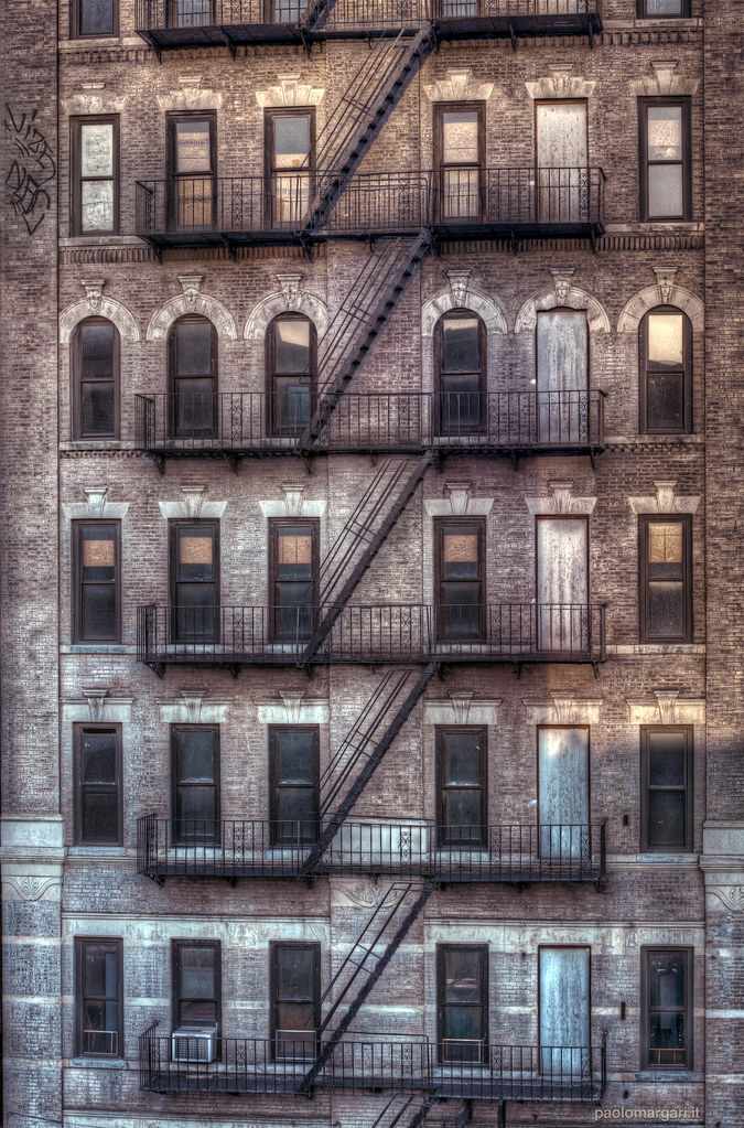 New York fire escape in Bowery, Manhattan. USA