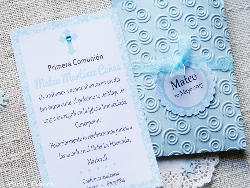 Conjunto invitaciones comunión niño Modelo nubes Merbo Events