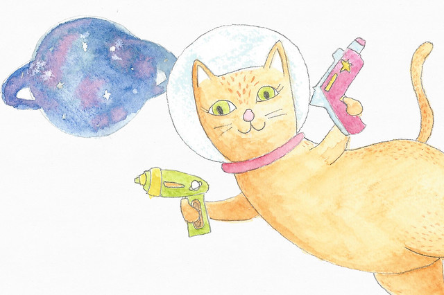 Space cat - Watercolour Illustration by Amie Sabadin